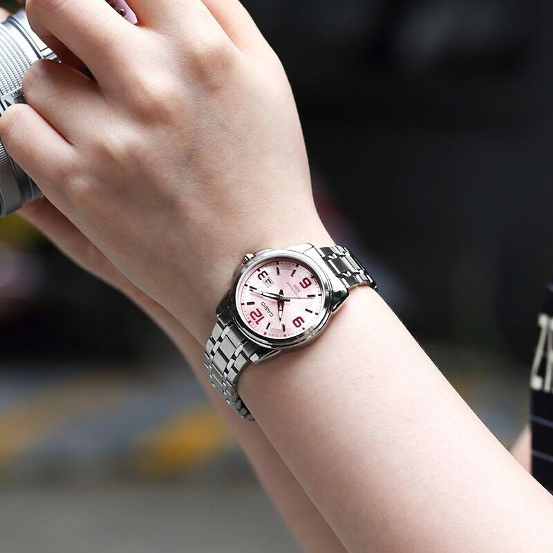 NEW🌟TOUGH CASIO UNISEX SPORTS WATCH : 100% ORIGINAL AUTHENTIC : By BABY-G-SHOCK ( EDIFICE GSHOCK ) COMPANY : LTP-1314D-5AVDF (SILVER-ROSE PINK DIAL)