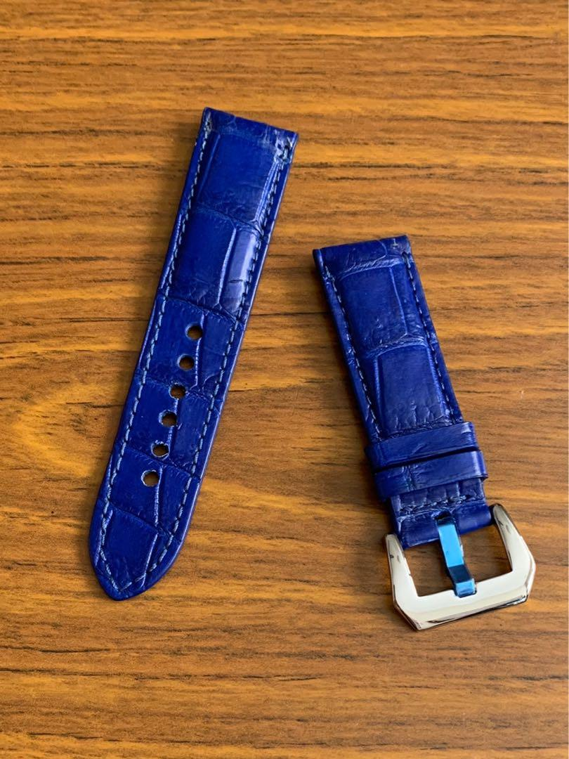 24mm/22mm Authentic Royal Blue Alligator 🐊 Crocodile Watch Strap (Standard length- L:120mm, S:75mm) (one and unique truly)😊