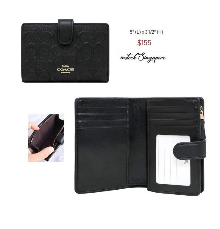 READY STOCK - AUTHENTIC - NEW Coach medium CORNER ZIP WALLET F67565 embossed leather signature