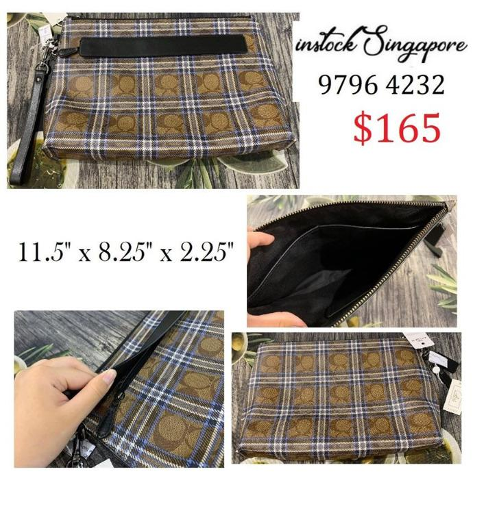 READY STOCK authentic new Coach CARRYALL POUCH IN SIGNATURE CANVAS WITH SHIRTING PLAID PRINT (COACH F79875)