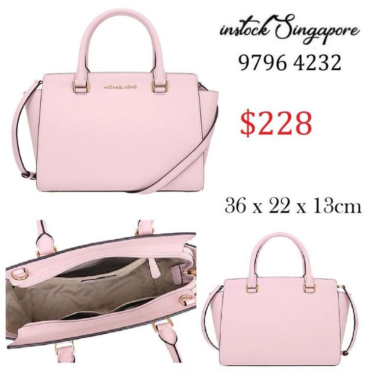 READY STOCK authentic new MICHAEL KORS bag shoulder bag 35H8GLMS2L Blossom special Selma leather medium top zip Satchell