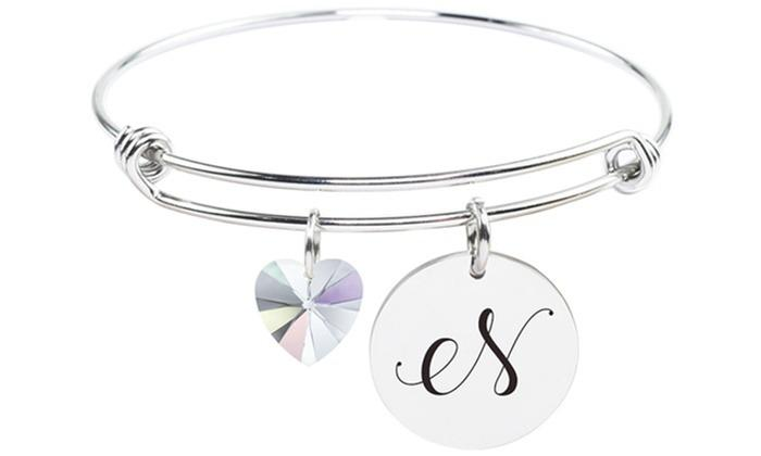 Stainless Steel Bangle made with Swarovski Crystals