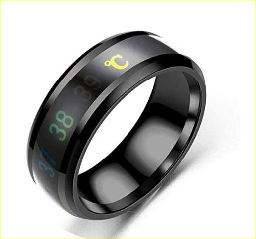 Stainless Steel Intelligent Thermometer Temperature Measuring Ring (Size 7)