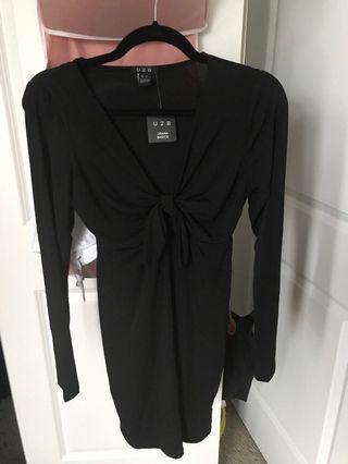 Front Tie Black Dress