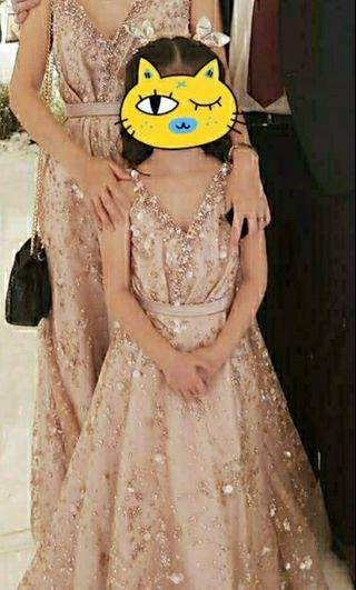 Baju Gaun Pesta Modern Glitter Rose Gold Kembar pasangan Ibu anak