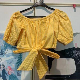 Zara Mustard Gingham Off-Shoulder Crop Top