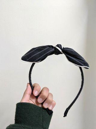 全新黑白條文蝴蝶髮箍(可彎)