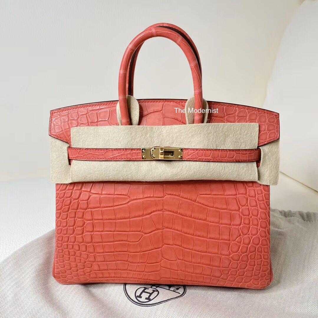 Authentic Brand New Hermès Birkin 25 🐊 A5 Bougainviller Matte Alligator Gold Hardware