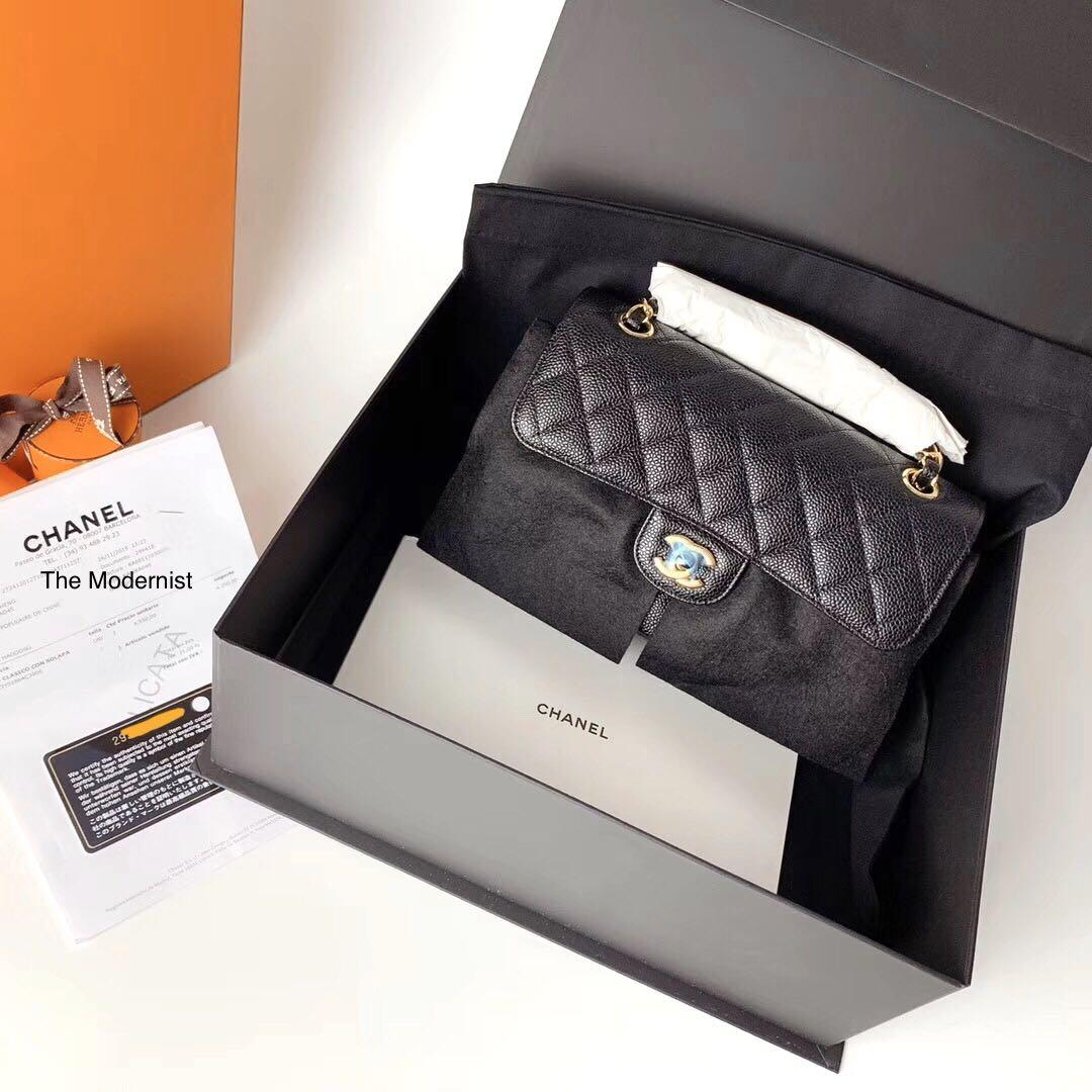Authentic Chanel Small Black Caviar Leather Gold Hardware Double Flap