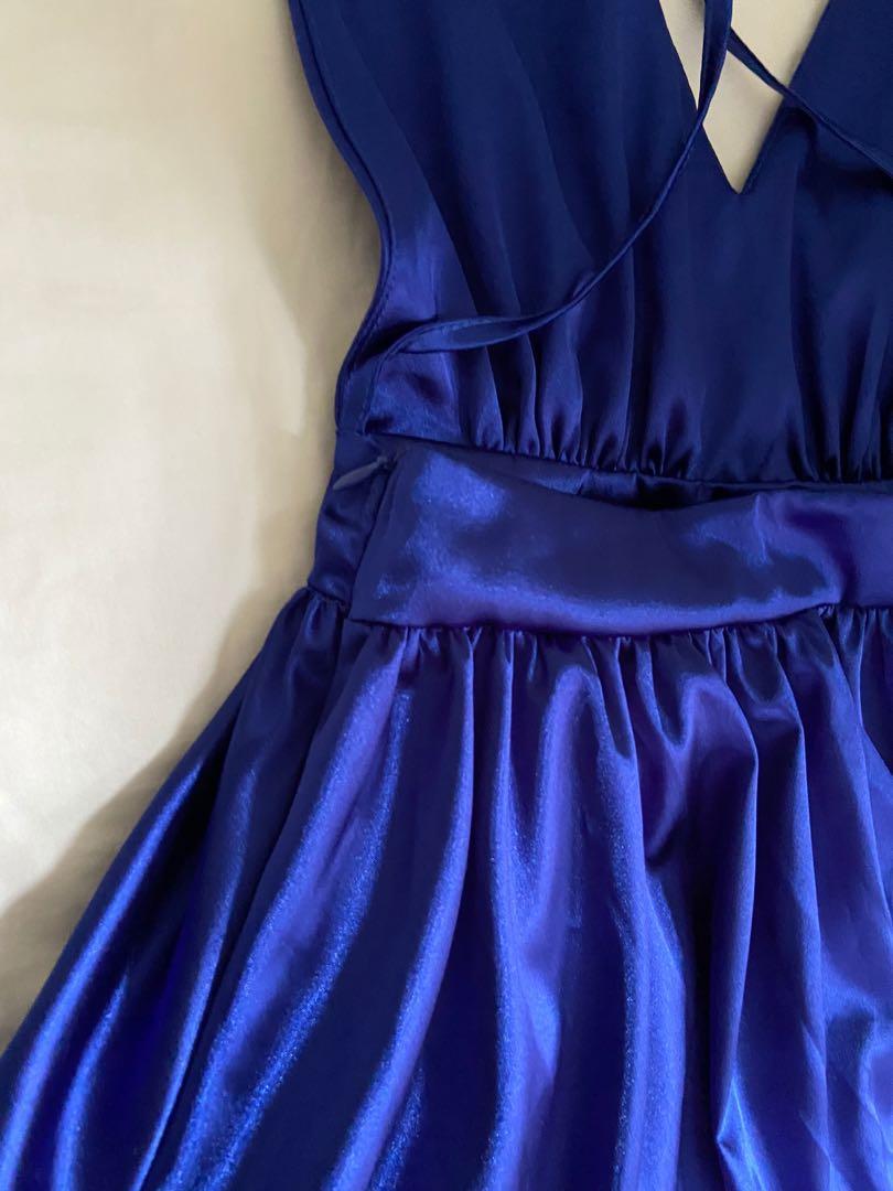 💙BLUE💙 silk soft play suit dress mini dress backless ribbon
