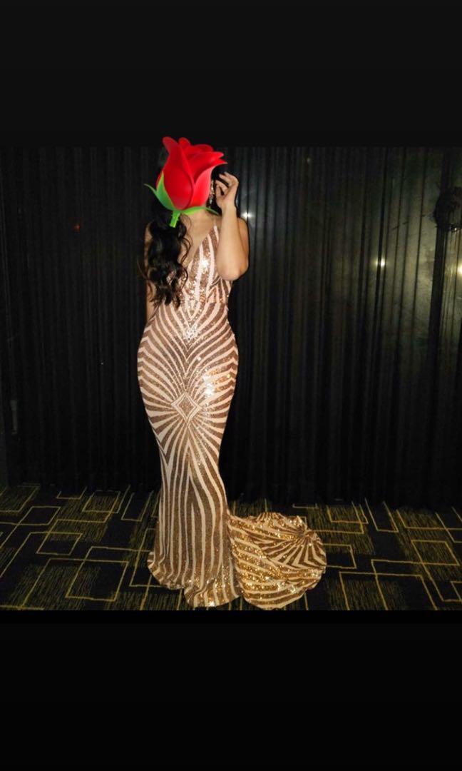 ✨Diamanté✨ Formal glitter diamond dress elegant backless floor length train