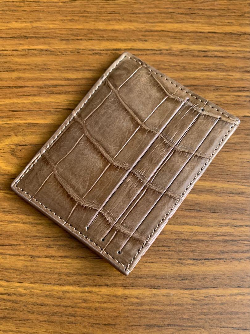 Authentic Light Pecan Brown Crocodile Alligator 🐊 Card holder Cardholder (10.5cm x 8cm) 3 slots on each side and 1 big slot compartment down in the middle
