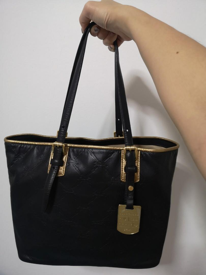 LONGCHAMP *Brand New* LM Cuir Medium Embossed Leather Tote Bag in Black and Metallic Gold Trim
