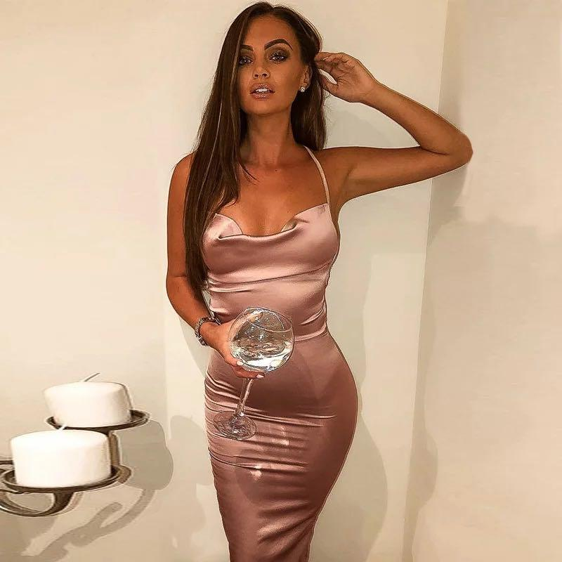 🤍SILK🤍 Soft rose pink backless evening clubbing party dress
