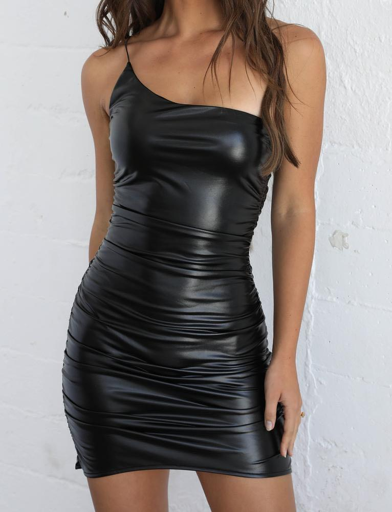 Tiger Mist Darla Dress Black PU leather look one shoulder bodycon mini dress