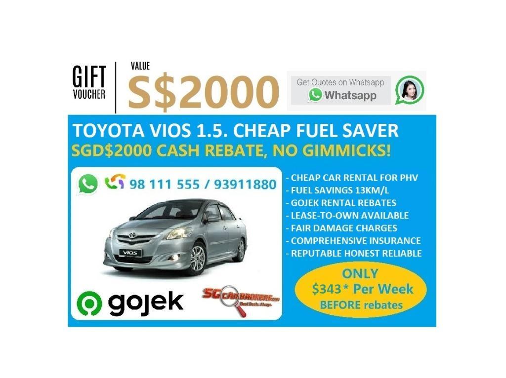 TOYOTA VIOS FOR RENT! CHEAP CAR FOR RENT! $2000 SIGN UP BONUS. $500 DEPOSIT DRIVEAWAY! GOJEK EXCLUSIVE PARTNER INCENTIVES.