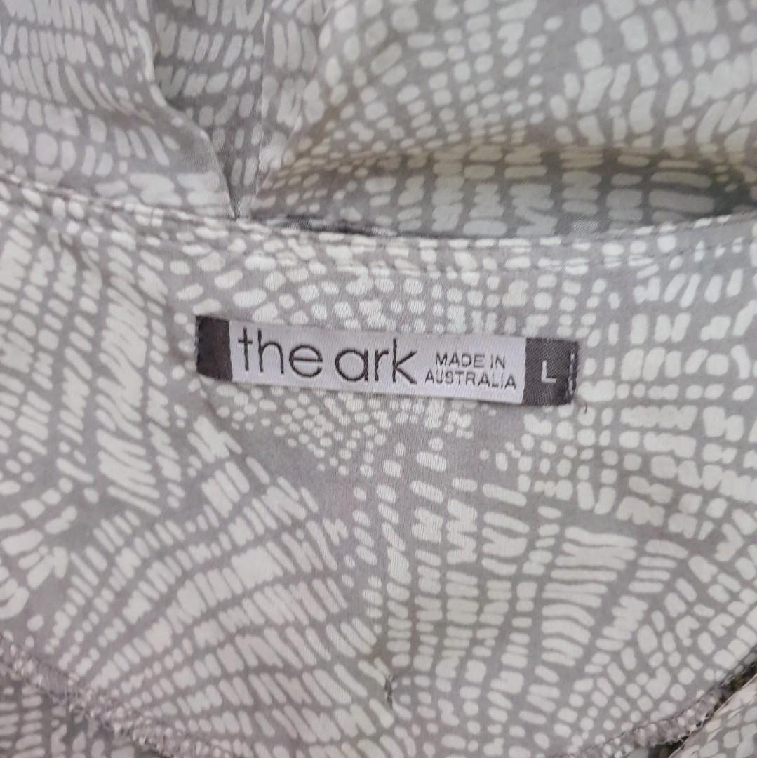 Women's size L 'THE ARK' Stunning grey yellow tunic silk top/beach  cover-AS NEW