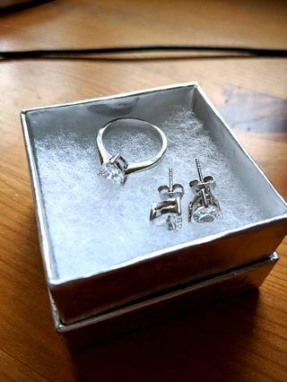 Bittersweet Sterling Silver Heart Earring and Ring Set