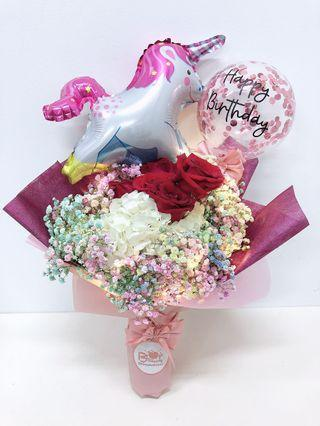 Fresh Flower and Balloon Bouquet with LED light