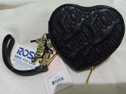 NWT,Juicy Couture Heart Coin Purse Wristlet, Beautiful Black