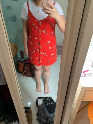 Cotton On Red Overalls Size L (Free Shipping Jabodetabek)