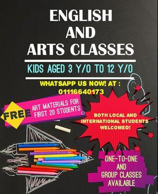 ARTS AND ENGLISH CLASSES FOR KIDS! (INDEPENDENT LEARNING, CREATIVE AND FUN!)