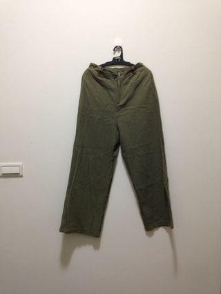 綠色長寬褲 工裝褲