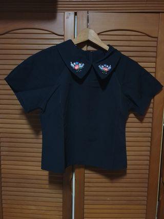 Collar Crop Shirt