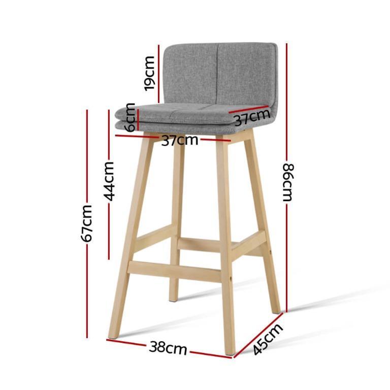 Artiss 2 x Kitchen Bar Stools Wooden Bar Stool Chairs Barstools Fabric Grey 67CM