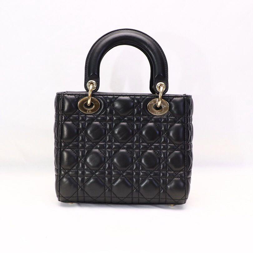 Authentic Christian Dior Small Lady Dior Black Lambskin Light Gold Hardware