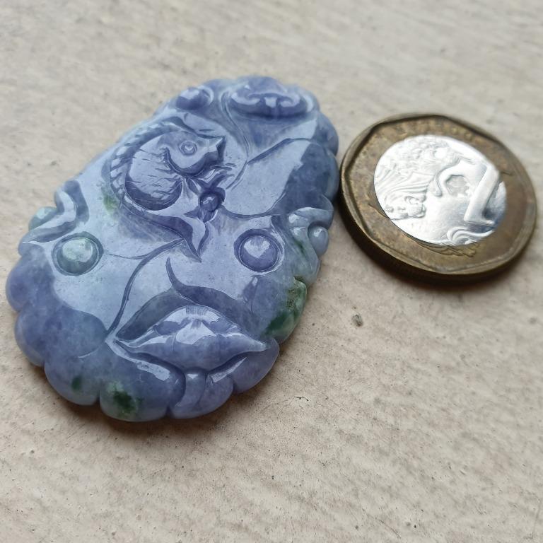 Certified Type A Grade Jadeite Pendant Purple Green Jade Ruyi Carp Fish Lotus Flower Leaf 莲花 莲叶 鲤鱼