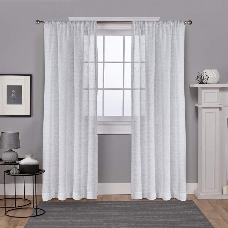 Foil Belgian Metallic Linen Rod Pocket Curtain Panels (54''x 108'')