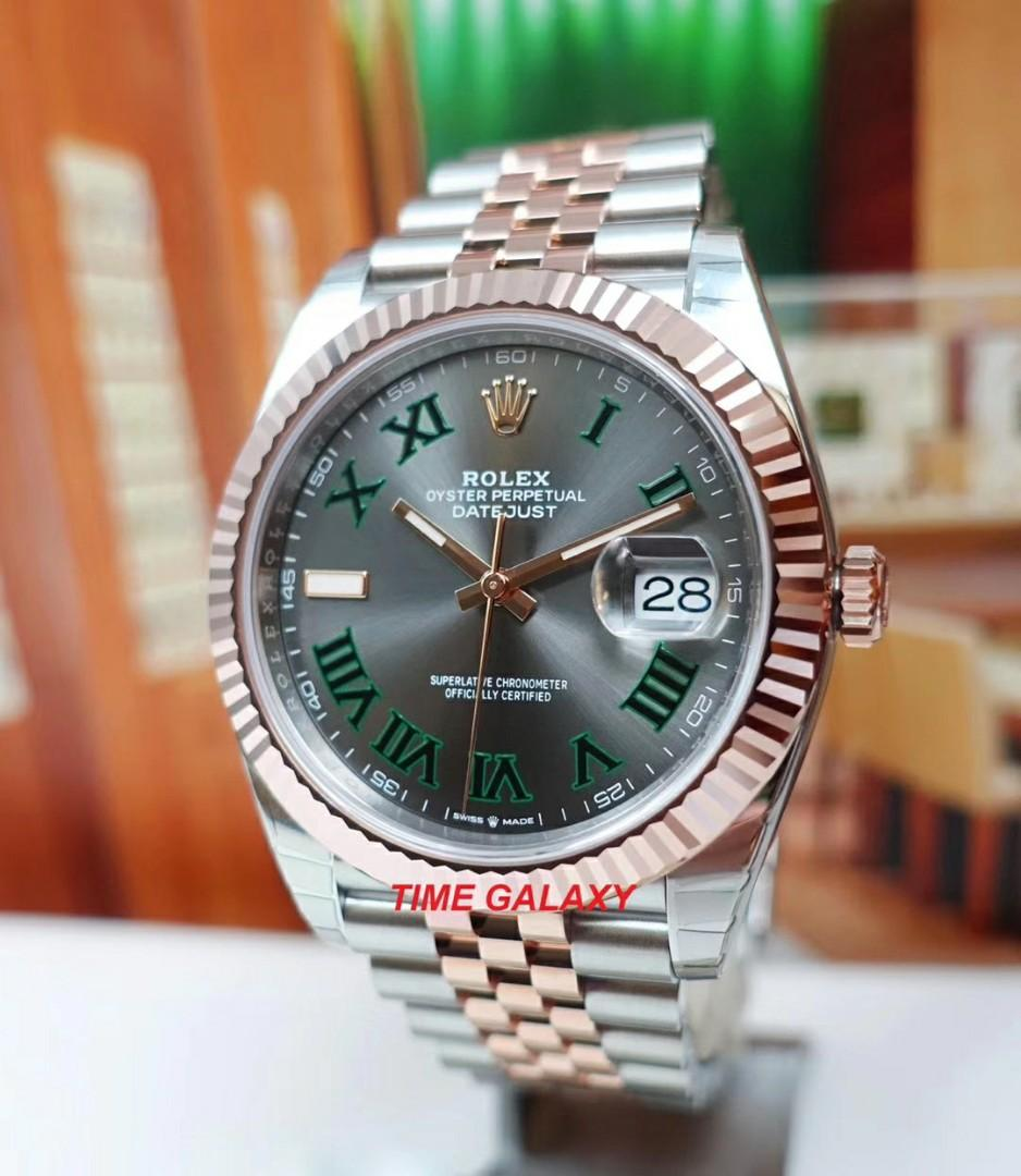 Hard to get model with good discount!! Brand New ROLEX Oyster Datejust 41mm Wimbledon Dial Steel And Everose Gold Jubilee Bracelet Automatic Men's Watch. Swiss made. Ref model : 126331
