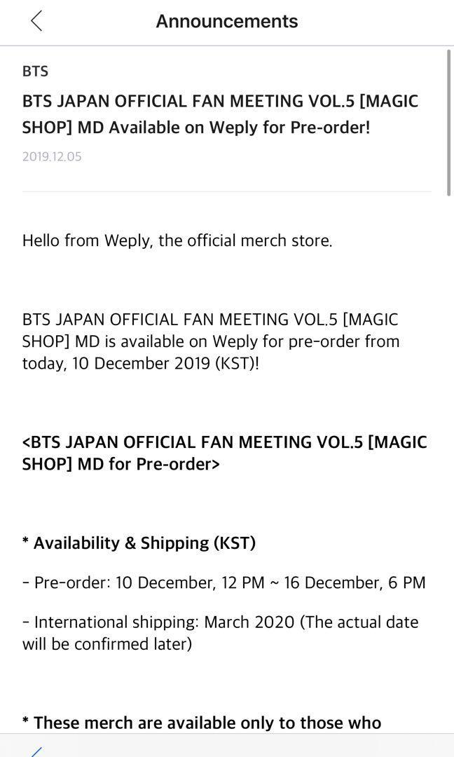 [INCOMING] BTS JAPAN OFFICIAL FAN MEETING VOL.5 [MAGIC SHOP] MINI PHOTOCARDS SET MD