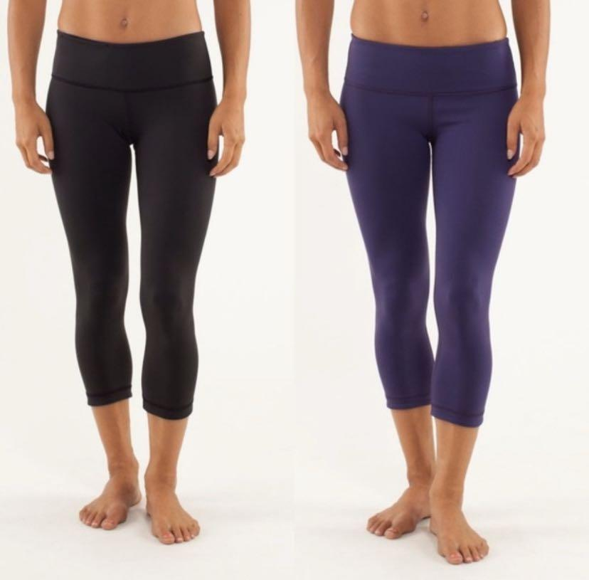 Lululemon - size 2 reversible black purple cropped leggings