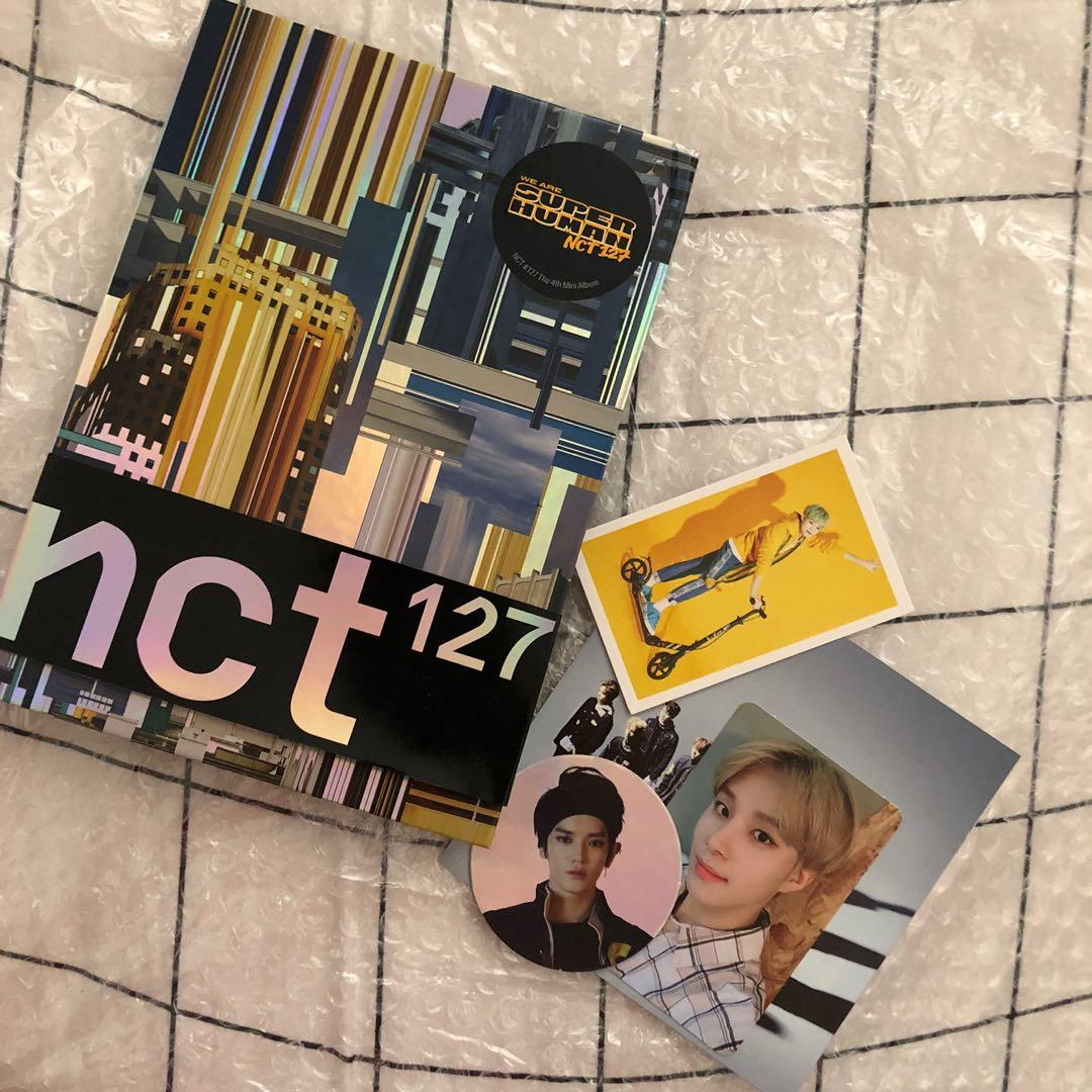 NCT127 SUPERHUMAN ALBUM WITH JUNGWOO PC AND TAEYONG CARD.