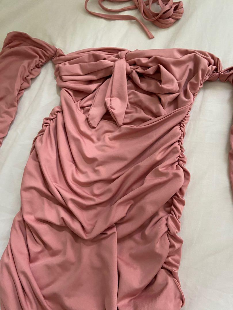 💗PINK💗 Ruched off shoulder tie knot dress clubbing tiger mist party