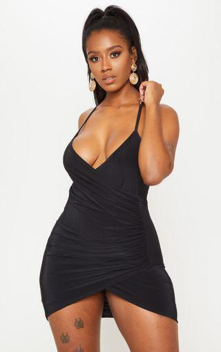 Pretty Little Thing Black Ruched side strap dress clubbing party dress