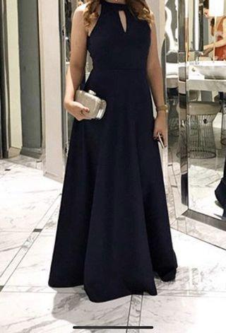 Navy Blue Keyhole Long  Evening Gown