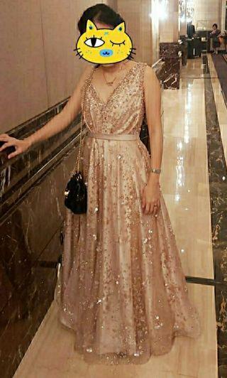 Elegant Modern Unique Party dress gaun pesta glitter rose gold sakura