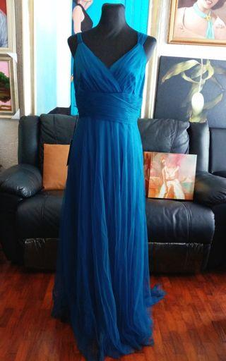 Teal Blue Gown With Tulle Overlay.
