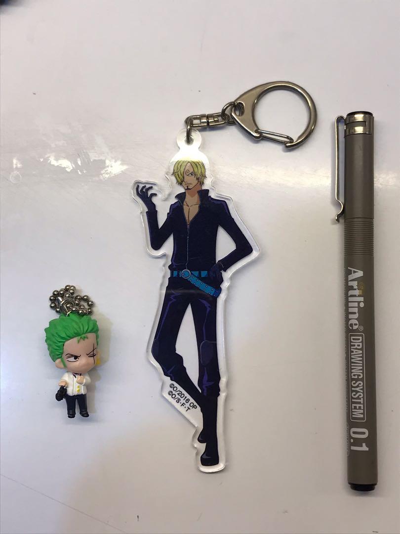 [ Original ]One Piece Film Gold Sanji Acrylic Keychain and Zoro Gashapon Keychain
