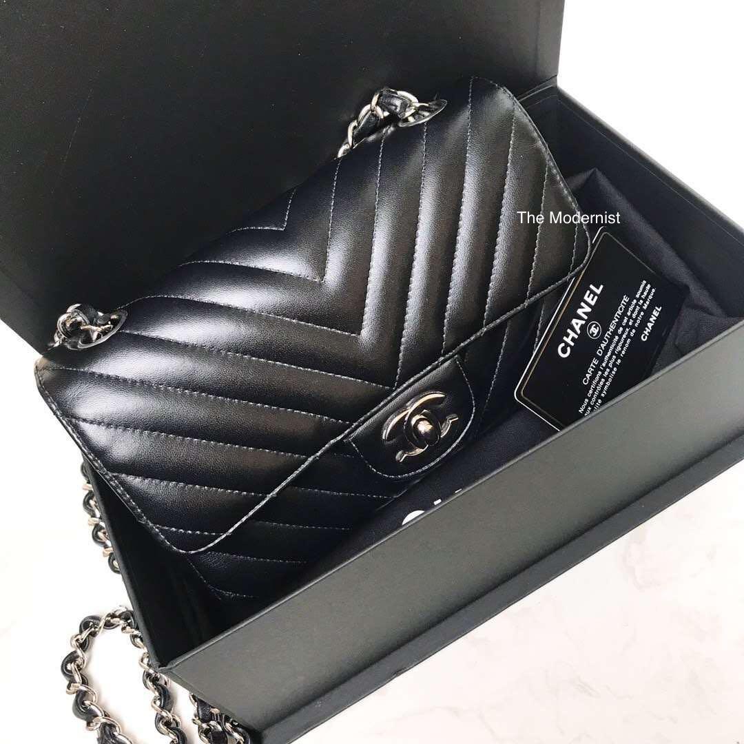 Authentic Chanel Chevron Mini Rectangular Black Lambskin Silver Hardware