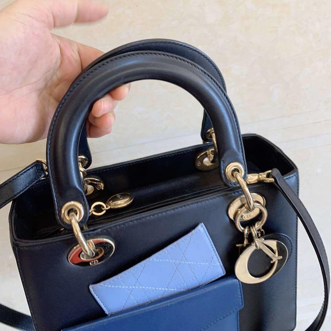 Authentic Christian Dior Limited Edition Smooth Calfskin Lady Dior Medium