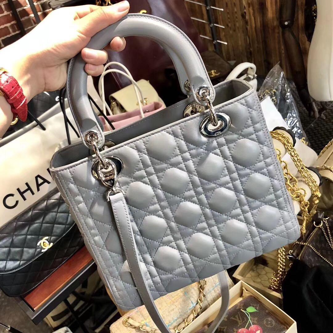 Authentic Pre-loved Christian Dior Medium Light Grey Lambskin Lady Dior
