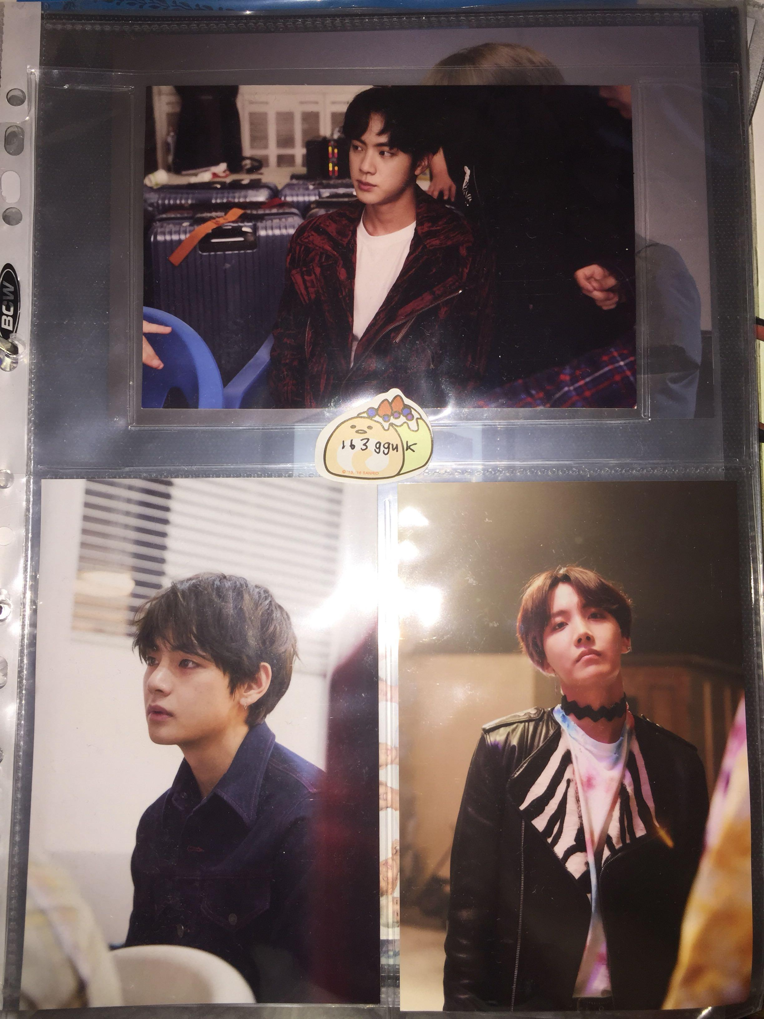 bts oneul exhibition live photos / photocard / pc ( tae, jin, hobi )