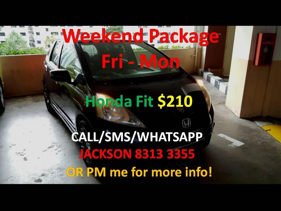 CAR RENTAL HONDA FIT FRI - MON WEEKEND PACKAGE 3-6 APR (Sembawang)