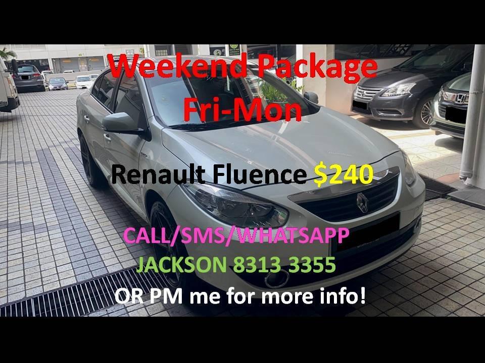 Car Rental Renault Fluence Weekend Package 3 - 6 Apr (Yishun)