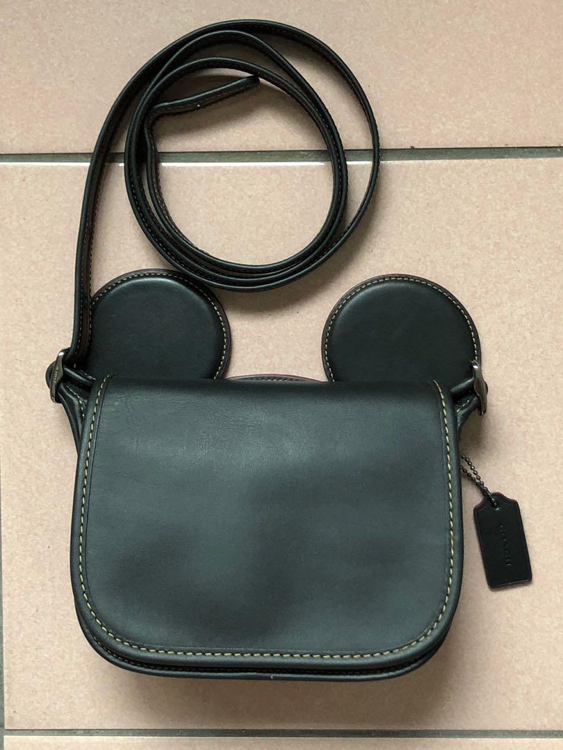 💝 大特價💝Coach 100%二手正品黑色限量版米奇耳朵皮革斜背包