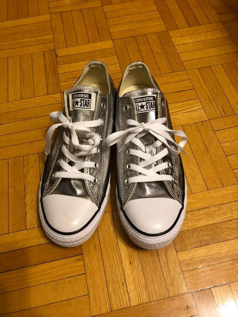Converse Chuck Taylors - metallic (silver) Size 7.5M/9.5W